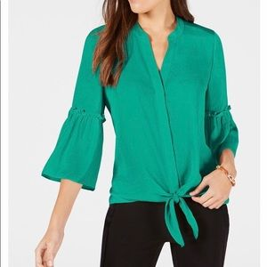 Alfani Washed-Satin Tie-Front Blouse